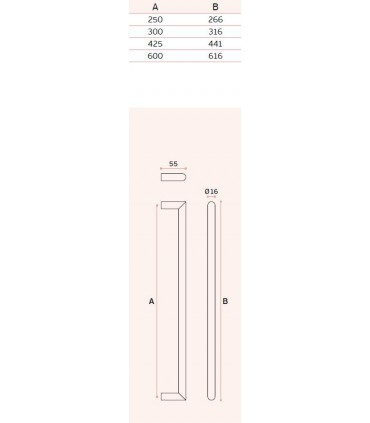 Poignée tubulaire angulaire ronde inox brossé