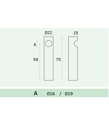Embase d'extremité pour barre diamètre 16 ou 19 mm