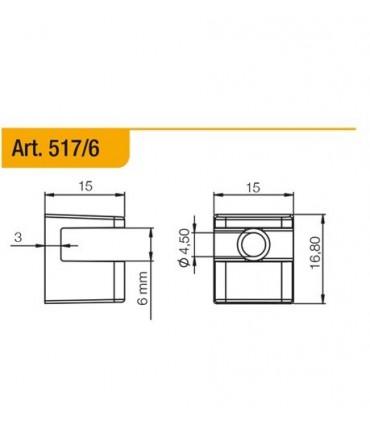 Console support série 517 pour étagère en verre ép.6 mm
