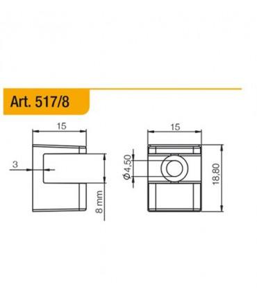 Console support série 517 pour étagère en verre ép.8 mm