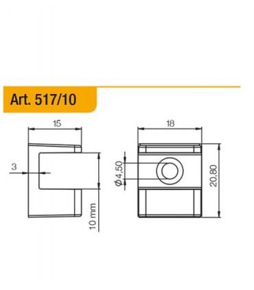 Console support série 517 pour étagère en verre ép.10 mm