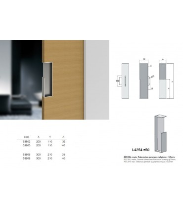 Poignée à encastrer série I.4254 Z50 pour porte en bois