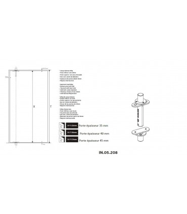 Pivots encastrés pour porte bois poids maxi 65 kg