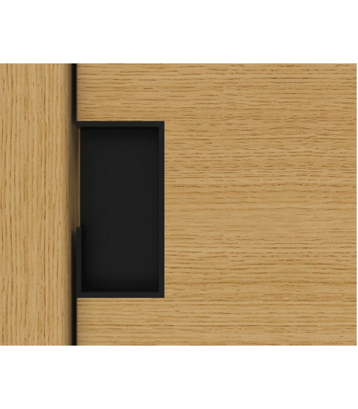 Poignée à encastrer série Did.4254 noire mat pour porte en bois