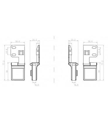 Charnière haute ou basse à blocage pour porte en verre d'épaisseur maxi 6 mm
