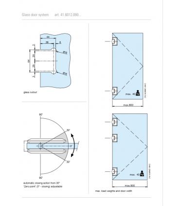 Charnière 90° ajustable pour porte de douche en verre