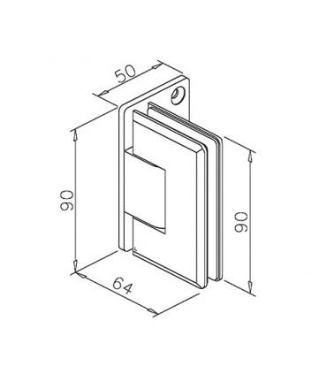Charnière sur platine déportée ajustable pour porte de douche en verre