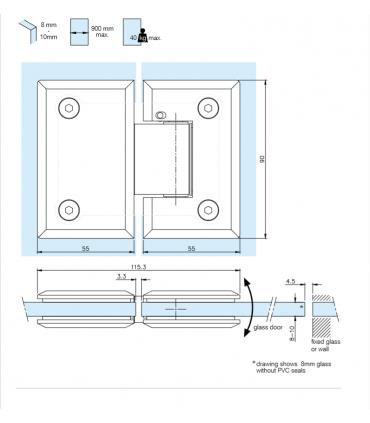 Charnière ajustable ouverture à 180° pour porte de douche