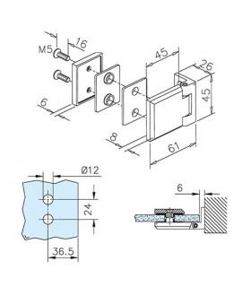 Charnière carrée pour porte en verre fixation contre mur