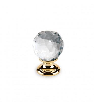 Bouton en cristal transparent embase dorée