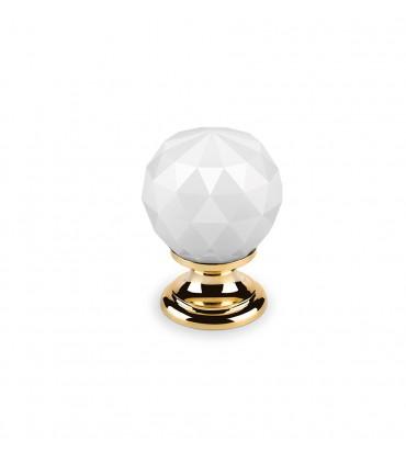 Bouton en cristal blanc embase dorée