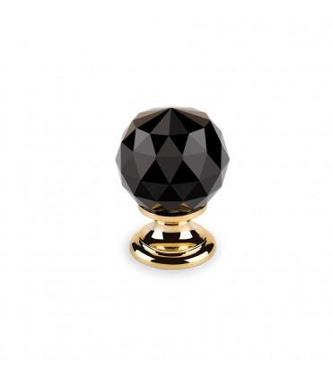 Bouton en cristal noir embase dorée