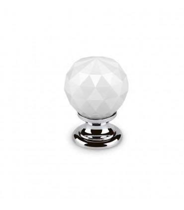 Bouton en cristal blanc embase chromée