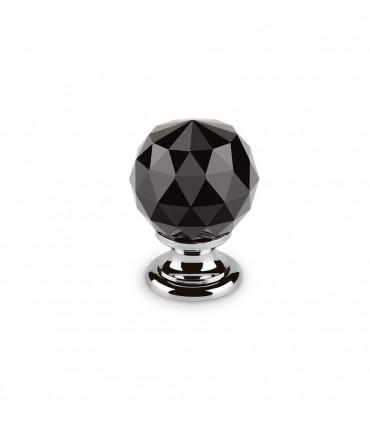 Bouton en cristal noir embase chromée