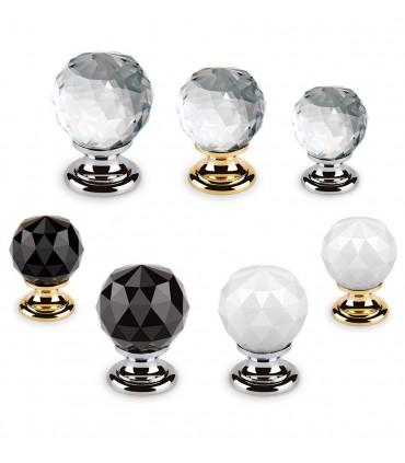 Bouton en cristal transparent, noir ou blanc