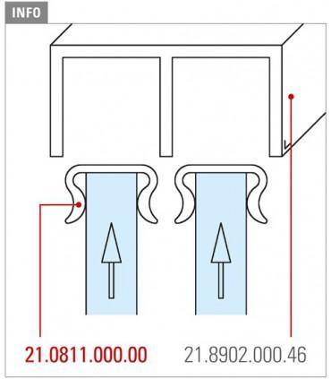 Atténuateur pour porte de vitrine en verre coulissante