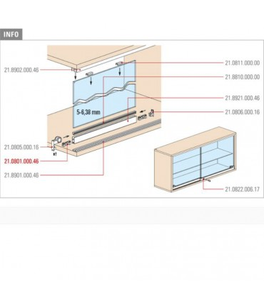 Profil de porte de vitrine en verre coulissante