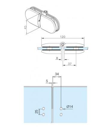 Double charnière pour portillon en verre