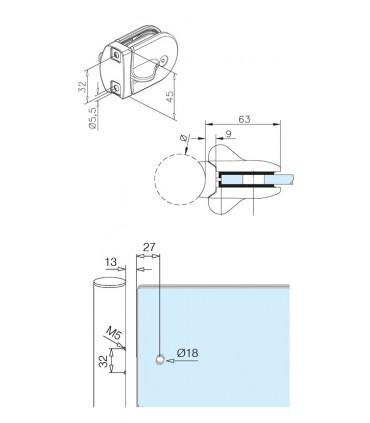 Loquet pour portillon en verre