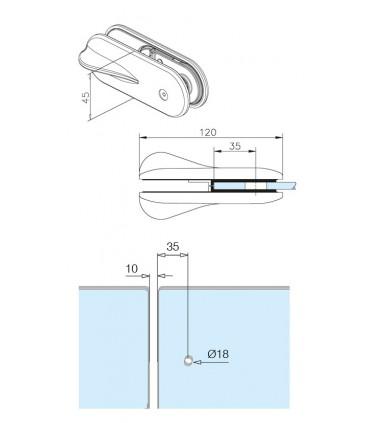 Loquet pour portillon montage verre sur verre