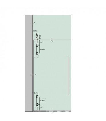 Pivot supérieur vertical pour imposte verre