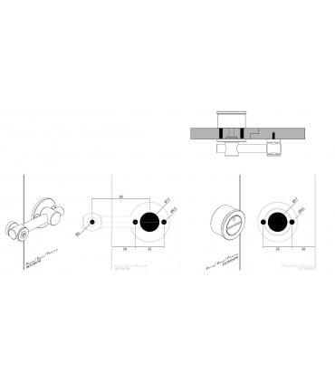 Loquet basculant inox pour porte bois