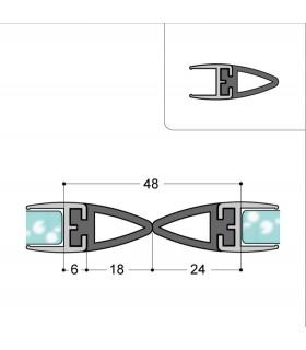 Profil anti-pince doigt pour porte en verre