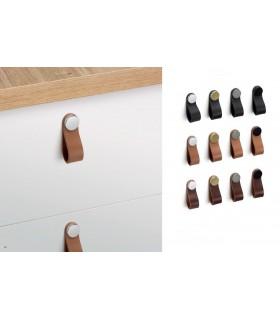 Poignée et bouton en cuir naturel ligne Flexa 0404 par Viefe