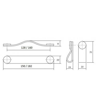 Poignée et bouton Flexa dimensions