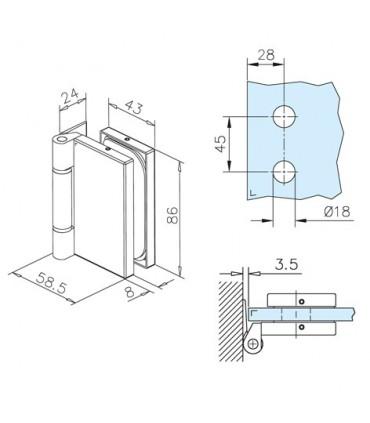 Charnière rectangulaire pour porte en verre