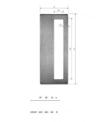 Set de deux poignées série Sly rectangulaires 1 découpe ht 500