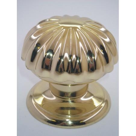 Poignée bouton de porte série Marghétita laiton poli Ø80
