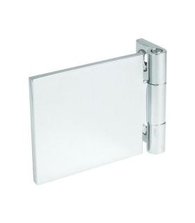 Charnière sur platine à visser collage UV sur le verre