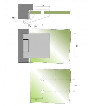 Charnière mur / verre technique