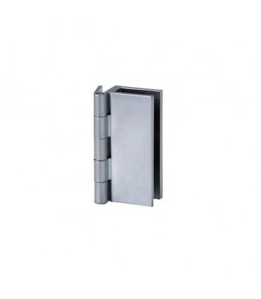 Charnière mur / verre chromé mat