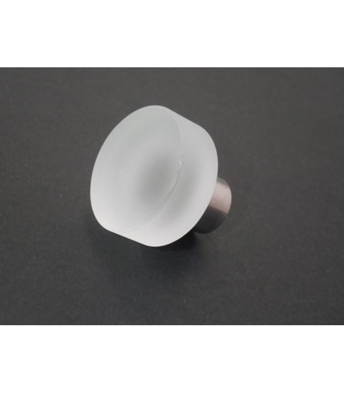 Poignée bouton verre satiné rond