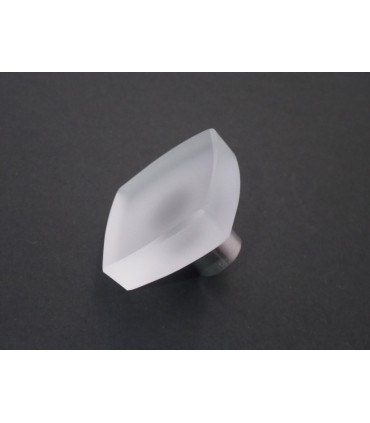 Poignée bouton verre satiné carré