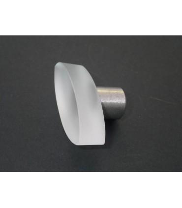 Poignée bouton verre satiné oval