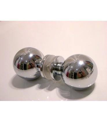 Poignée bouton rond chromé brillant