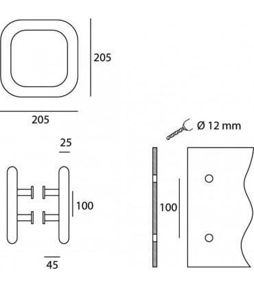 Poignée tubulaire carrée