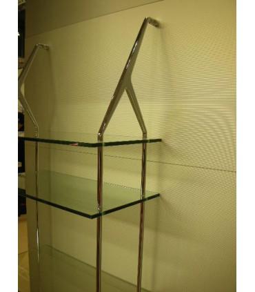 Set de deux supports avec 4 Etagères verre