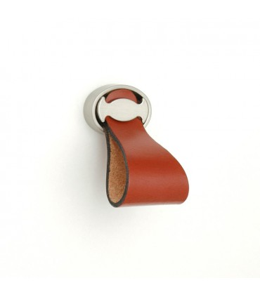 Bouton cuir base ovale argent mat