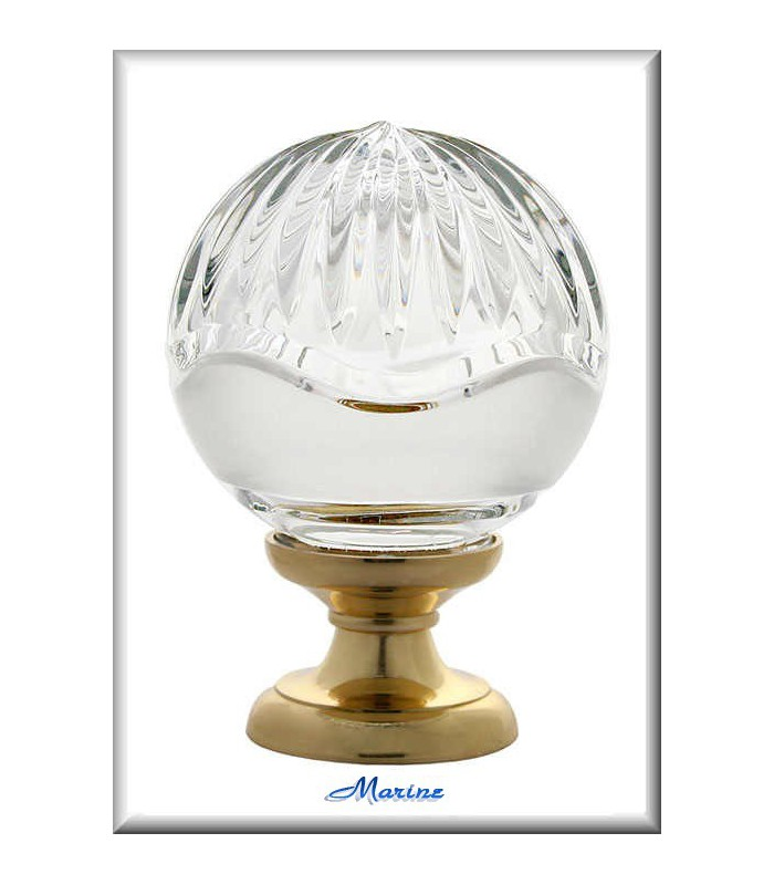 Boule d'escalier marine en Cristal ciselé main