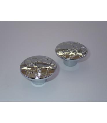 bouton série Cross chromé brillant