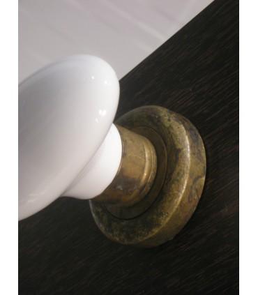 Paire de poignée bouton porcelaine blanche
