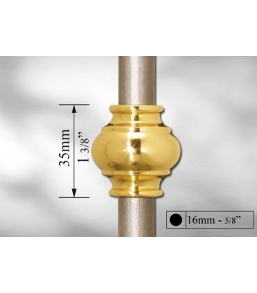 Manchon décoratif laiton poli pour Ø 16 mm