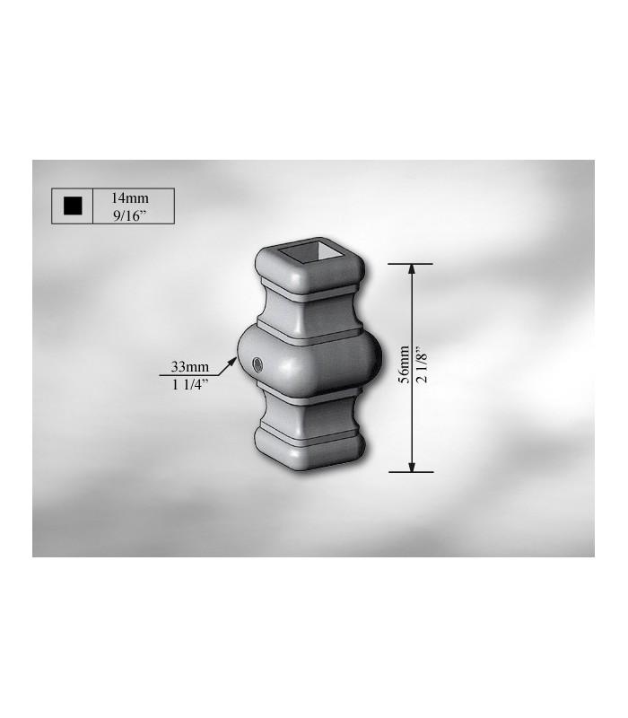 Manchon décoratif acier carré de 14 mm