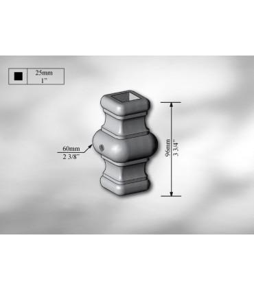 Manchon décoratif acier carré de 25 mm