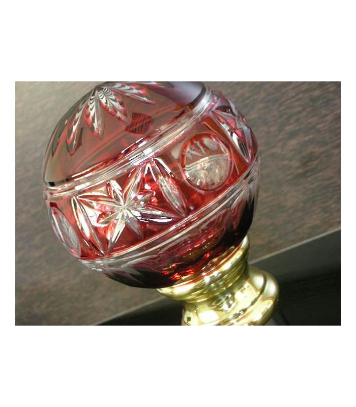 Boule de rampe d'escalier tbl20 en Cristal double rouge ciselé main