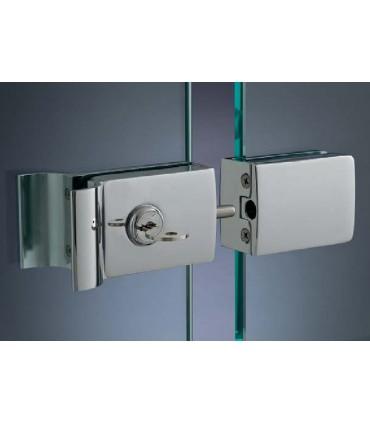 Serrure à clé avec poignée et gâche pour porte en verre